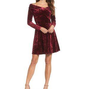 Chelsea28 Off-the-Shoulder Velour Flare Dress